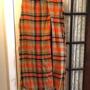 Wide plaid scarf/wrap